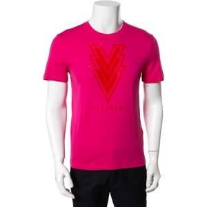 Louis Vuitton Pink Volez Voguez Voyagez Printed Cotton T-Shirt S