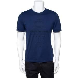 Louis Vuitton Navy Blue Printed Cotton & Silk Malle Aero T-Shirt S