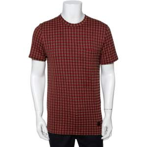 Louis Vuitton Red Checked Cotton V Patch Detail T-Shirt S