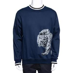 Louis Vuitton x Chapman Brothers Blue Lion Flock Print Sweatshirt L