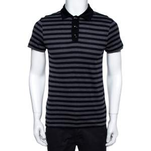Louis Vuitton Navy Blue & Grey Striped Cotton Polo T-Shirt S