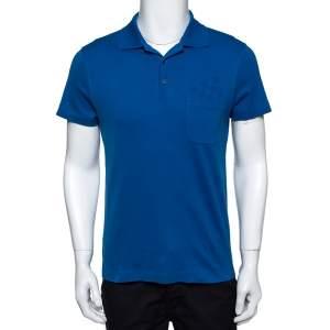 Louis Vuitton Blue Cotton Damier Pocket Detail Polo T-Shirt S