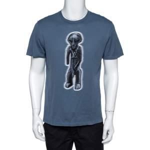 Louis Vuitton Stone Blue Cotton Zulu Statue Crew Neck T-Shirt M