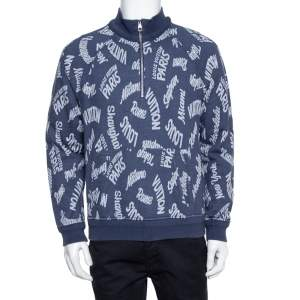 Louis Vuitton Blue Jacquard Cities Half Zip Sweater L