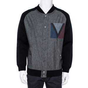 Louis Vuitton Black Denim Varsity Knit Jacket XL