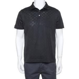 Louis Vuitto Black Cotton Damier Pique Polo T-Shirt L