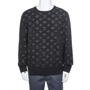 Louis Vuitton Black Knit Drop Needle Monogram Crewneck Sweatshirt XL