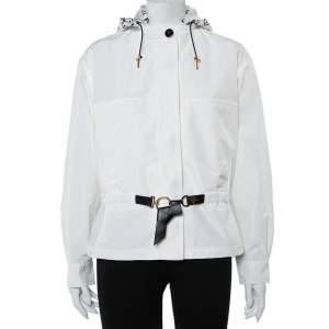 جاكيت هودي باركا لوي فيتون قصير قطن و ألياف صناعية أبيض مقاس صغير (سمول)