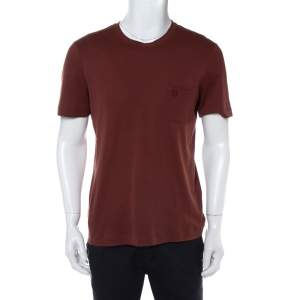 Louis Vuitton Brown Cotton Damier Pocket Detail Crewneck T-Shirt M