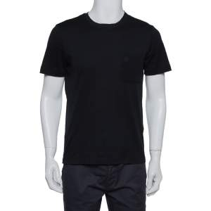 Louis Vuitton Black Cotton Damier Pocket Detail Crewneck T-Shirt S