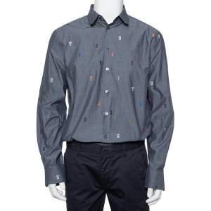 Louis Vuitton Grey Cotton Fil Coupé Detail DNA Collared Shirt M