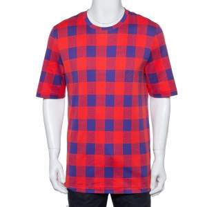 Louis Vuitton Red & Blue Masai Damier Printed Cotton Crewneck T-Shirt XXL
