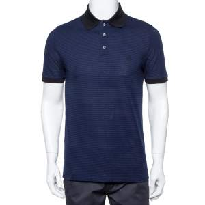 Louis Vuitton Blue and Black Horizontal Striped Cotton Pique Polo T-Shirt M