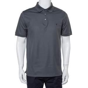Louis Vuitton Grey Cotton Pique Polo T-Shirt L