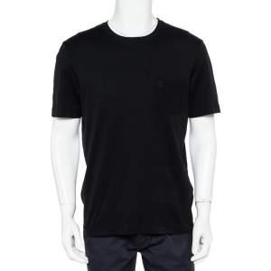 Louis Vuitton Black Cotton Damier Pocket Crewneck T-Shirt L