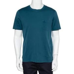 Louis Vuitton Teal Blue Cotton Damier Pocket Crewneck T-Shirt L