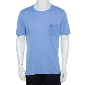 Louis Vuitton Lavender Cotton Damier Pocket Crewneck T-Shirt L