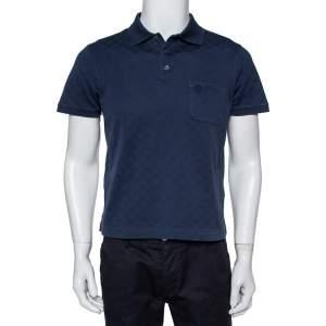 Louis Vuitton Navy Blue Cotton Knit Polo T-Shirt M
