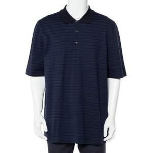 Louis Vuitton Navy Blue Striped Cotton Pique Polo T-Shirt 4L