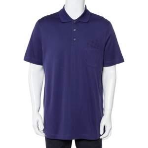 Louis Vuitton Purple Logo Printed Cotton Pique Polo T-Shirt XXL
