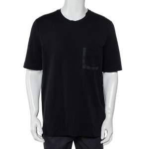 Louis Vuitton Black Cotton Damier Patch Pocket Detail High Low Hem T-Shirt XXL