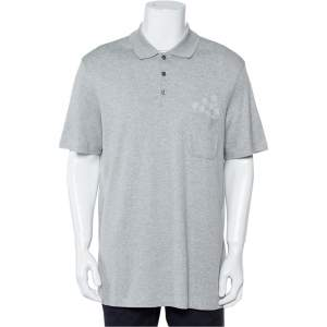 Louis Vuitton Grey Cotton Pique Damier Patch Pocket Detail Polo T-Shirt XXL