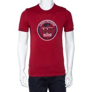 Louis Vuitton Red Graphic Print Cotton Knit Crewneck T-Shirt S