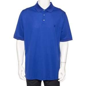Louis Vuitton Blue Cotton Pique Polo T-Shirt 4XL