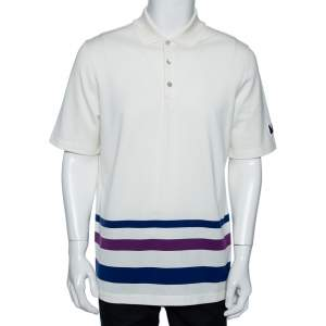 Louis Vuitton Off-White Cotton Striped Detail Polo T-Shirt XL