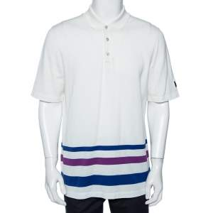 Louis Vuitton White Cotton Striped Detail Polo T-Shirt XXL