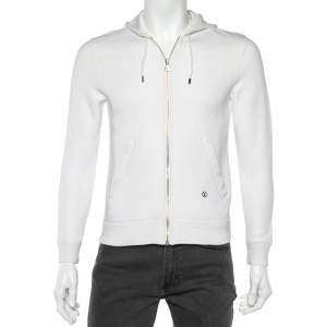Louis Vuitton White Cotton Knit Zip up Hood Jacket XS