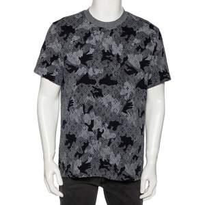 Louis Vuitton Navy Blue Camo Cotton Jacquard Crewneck T-Shirt XL