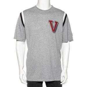 Louis Vuitton Grey Cotton Contrast Rib Detailed Crew Neck T-Shirt XXL