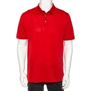 Louis Vuitton Red Cotton Pique Polo T-Shirt XL