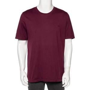 Louis Vuitton Burgundy Cotton Logo Embroidered Short Sleeve T-Shirt XXL