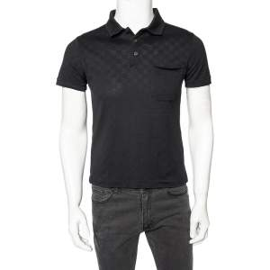 Louis Vuitton Black Damier Cotton Pique Pocketed Polo T-Shirt XS