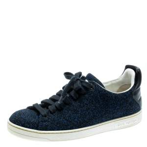 Louis Vuitton Blue Knit Fabric And Black Leather Front Row Lace Up Sneakers Size 39.5