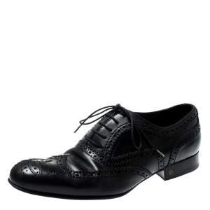 Louis Vuitton Black Brogue Leather Lace Up Oxfords Size 41