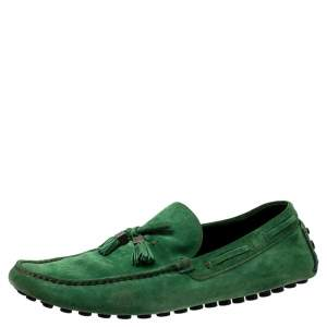 Louis Vuitton Green Suede Imola Tassel Loafers Size 44