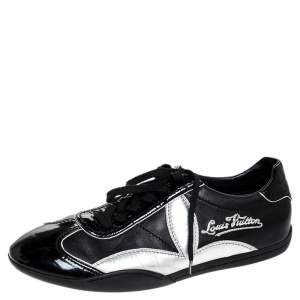 Louis Vuitton Black/Silver Patent Leather And Leather Low Top Lace Up Sneakers Size 41