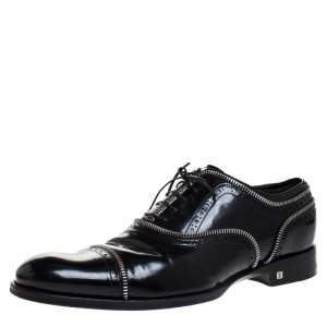 Louis Vuitton Black Patent Leather Lace Up Oxfords Size 41.5