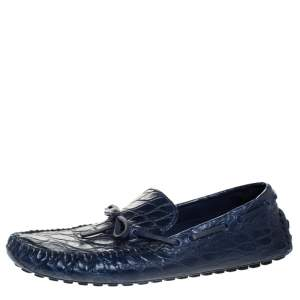 Louis Vuitton Blue Crocodile Leather Slip On Loafers Size 42.5