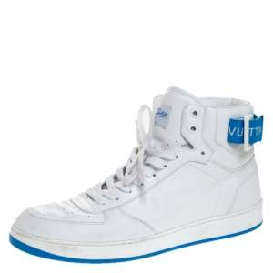 Louis Vuitton White/Blue Leather Rivoli High Top Sneakers Size 42