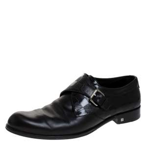 Louis Vuitton Black Leather Infini Single Monk Strap Derby Size 42