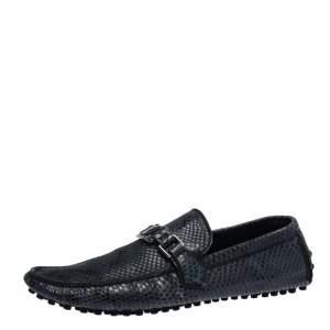 Louis Vuitton Blue Snakeskin Hockenheim Loafers Size 42