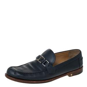 Louis Vuitton Blue Leather Major Loafers Size 44.5