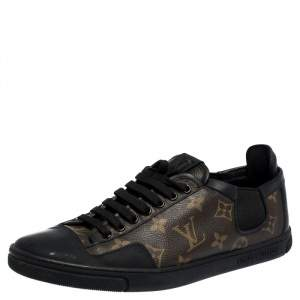 Louis Vuitton Brown Monogram Canvas And Black Leather Slalom Low Top Sneakers Size 41