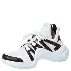 Louis Vuitton White Fabric And Monogram Canvas Archlight Lace Up Sneakers Size 42