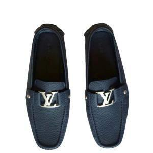 حذاء موكاسين لوى فيتون جلد مونتيجن منقوش كحلى مقاس 42