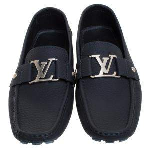 Louis Vuitton Navy Blue Textured Leather Montaigne Moccasins Size 42